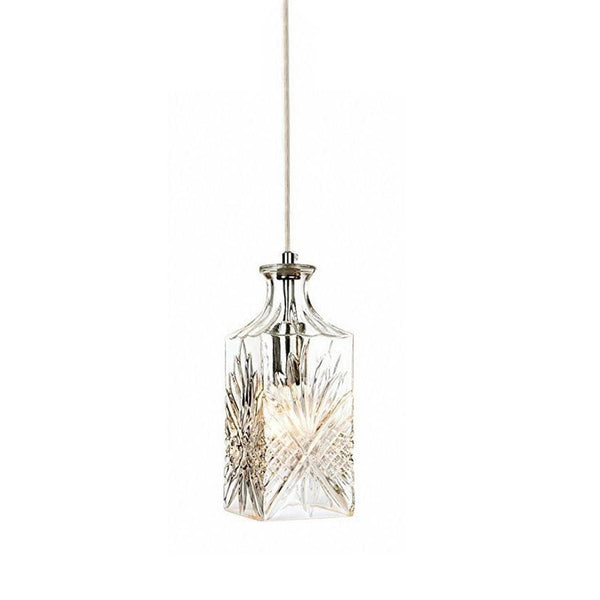 crystal wine decanter pendant light with chrome fittings
