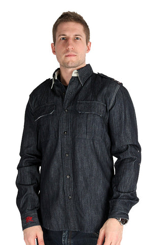 Parasuco Mens Dark Blue Button Up 9-REIGN Long Sleeve Heavy Denim Shirt