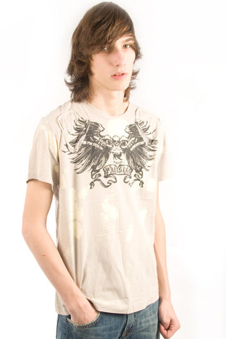 Parasuco Beige Bleached Winged Skull MS8T039 Tee Short Sleeve T-Shirt