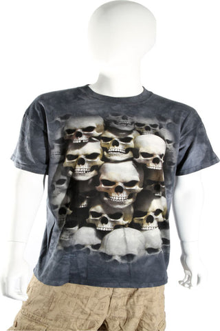 Skulbone Gray Black Grey Stacked Skulls Crypt Tee Short Sleeve T Shirt