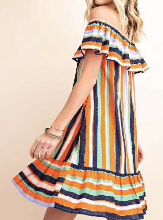 Cheryl Striped Off Shoulder Dress