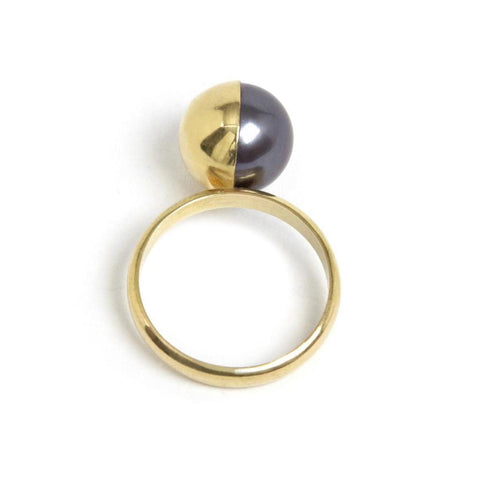 MELANIE GEORGACOPOULOS Half Gold Covered Peacock Pearl Ring