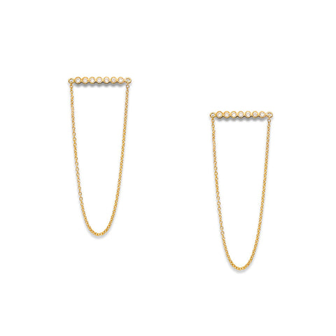 YANNIS SERGAKIS ADORNMENTS Charnières Diamond Stud Earrings with Gold Chain