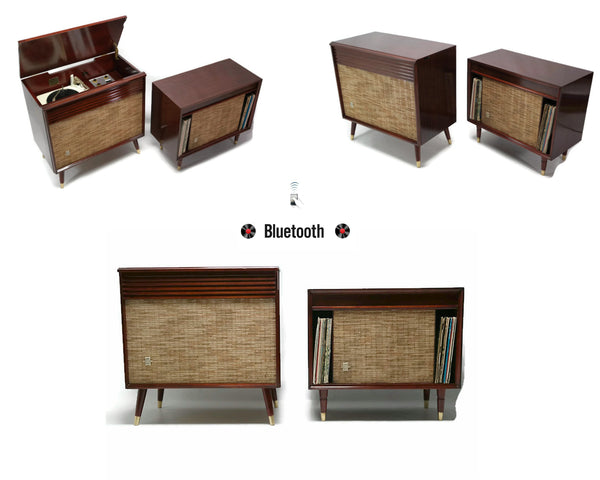 The Vintedge Co™ - SILVERTONE 2-Piece Record Player Changer Stereo Console w/Ext. Speaker