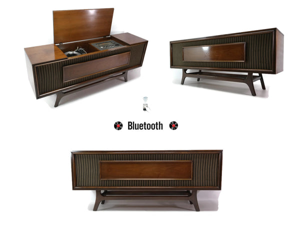 The Vintedge Co™ - GE Long and Low Record Changer Player Stereo Console