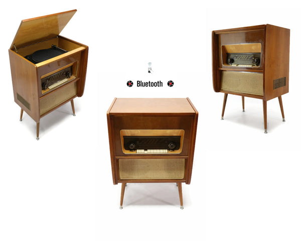 The Vintedge Co™ - TURNTABLE READY SERIES™ - EMUD 50s 60s Modern Turntable Record Player HiFi Console