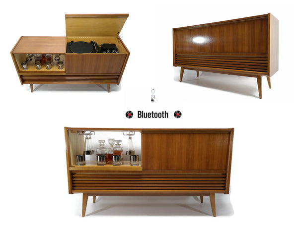 The Vintedge Co™ - TURNTABLE READY SERIES™ - Mid Century Stereo Console Turntable Record Player Cabinet w/BUILT-IN BAR