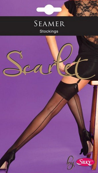 Scarlet Back seam and point heel Seamer Stockings by Silky