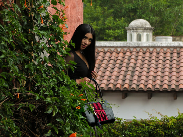 handbag handmade mayalla huipil leather black