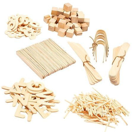 craft sticks, bamboo tongs and other wooden craft items