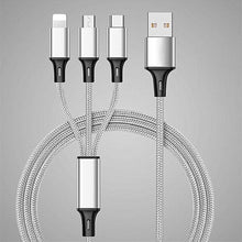 Load image into Gallery viewer, Custom Logo Three in One 4 Feet or 1.2 Meter Fast Charging Braided USB Phone Cable