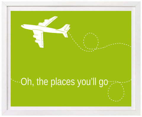 Oh the Places You'll Go,  Airplane Typography Print