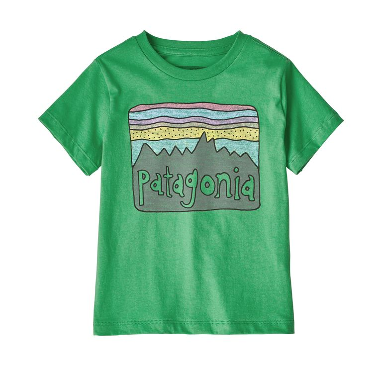 Patagonia baby fitz roy skies tee, nettle green