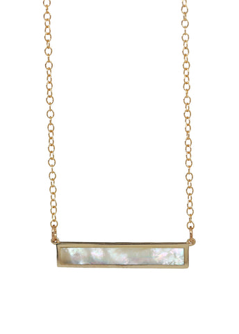 mother of pearl bar necklace