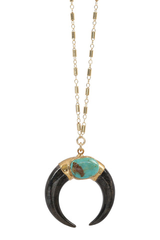 luna necklace - black + turquoise