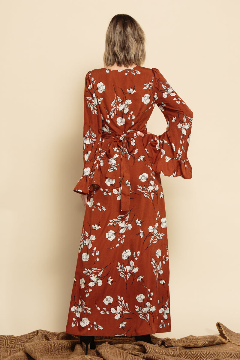 HAILEY BELTED WRAP DRESS | RUST FLORAL