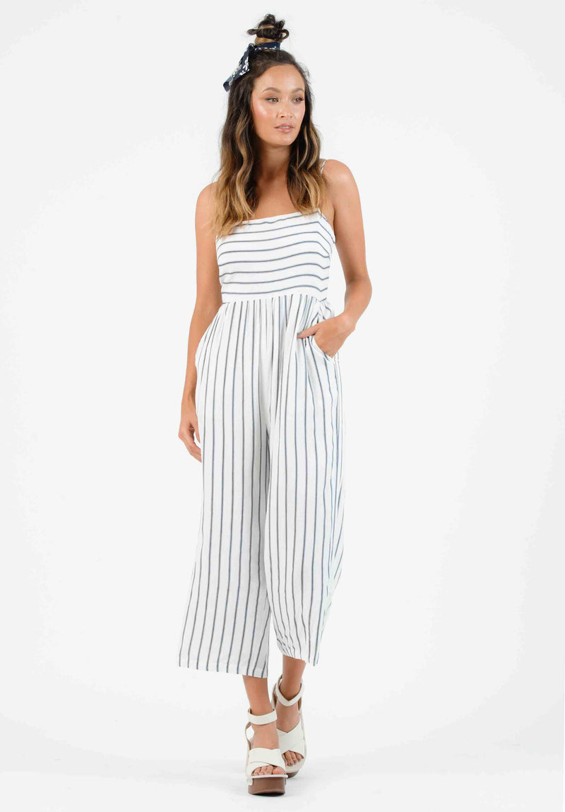 CLARA CULOTTE JUMPSUIT | WHITE/NAVY STRIPE