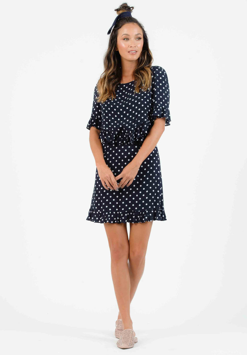 DAHLIA OPEN WAIST MINI DRESS | NAVY POLKA DOT