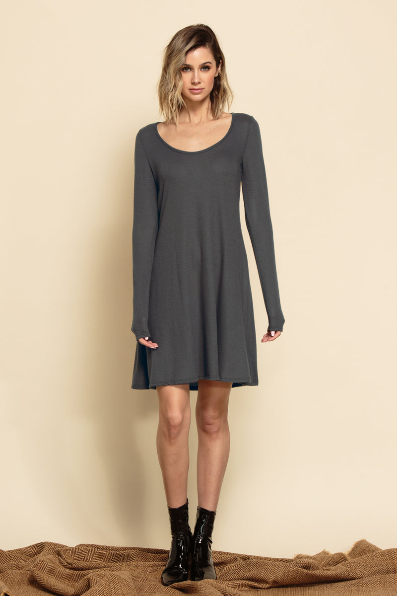 TRINITY SCOOP HACCI MINI DRESS | GREY