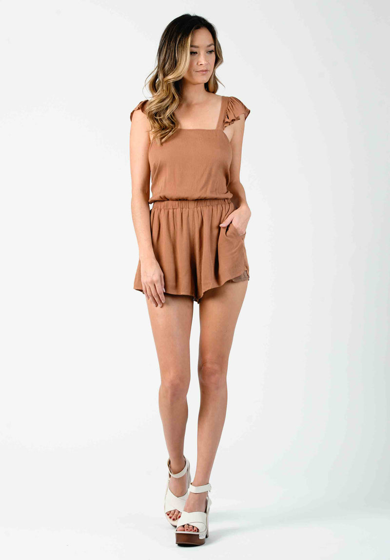 KHLOE CROSS-BACK ROMPER | CLAY