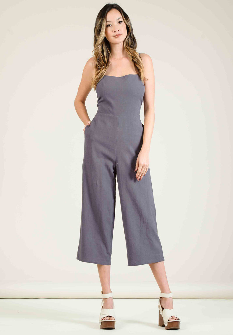 MOJAVE V-NECK LOOSE JUMPSUIT | NAVY WHITE STRIPE