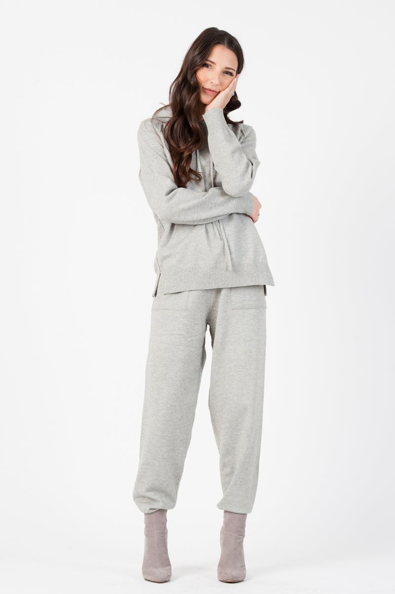 KNIT SWEATER JOGGER PANT| HEATHER GREY