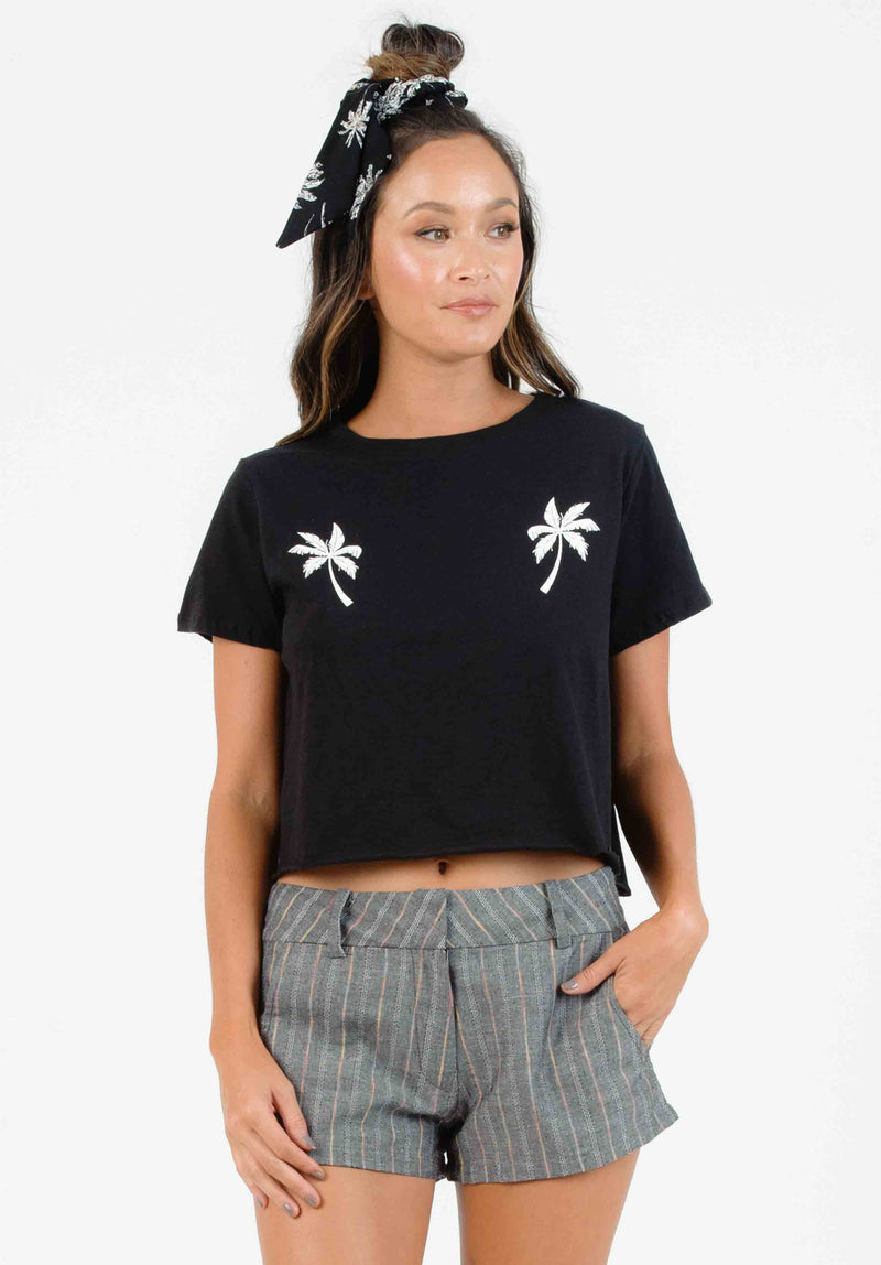 SHAE PALM PRINT CROP TOP | BLACK