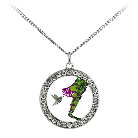 Humming Bird Necklace Stone Coin