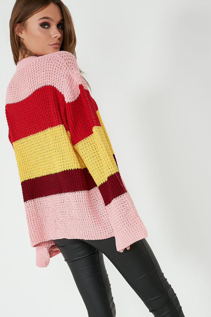 Ava Pink Knit Colour Block Jumper