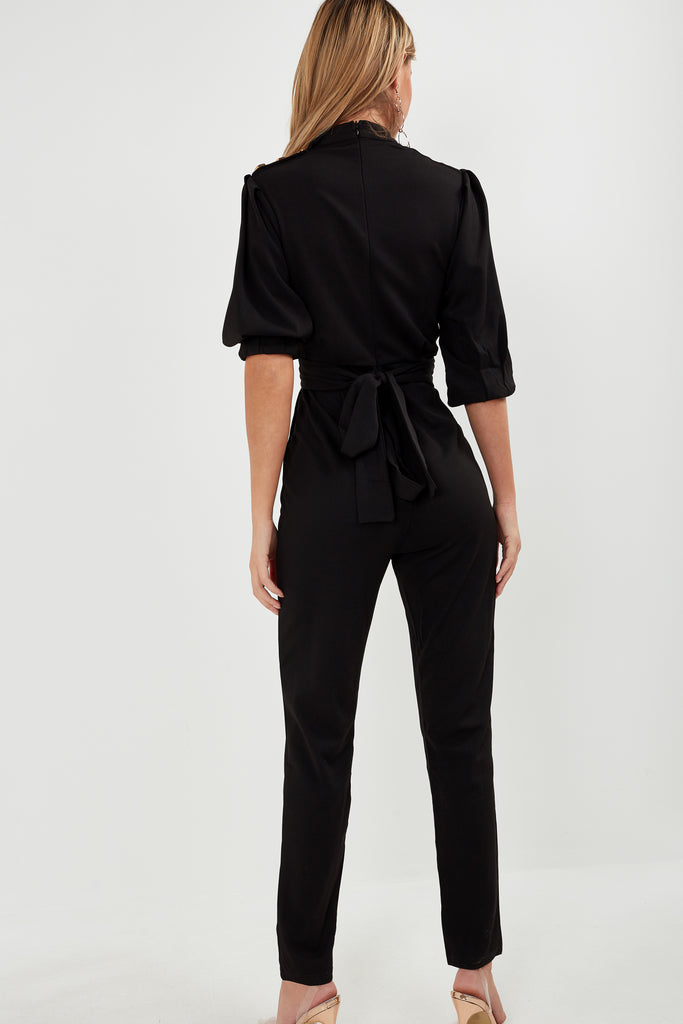 Barb Black High Neck Jumpsuit