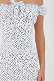 Brenda White Polka Dot Bardot Dress
