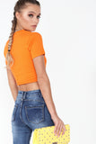 Cadell Orange Slashed Detail Crop Top