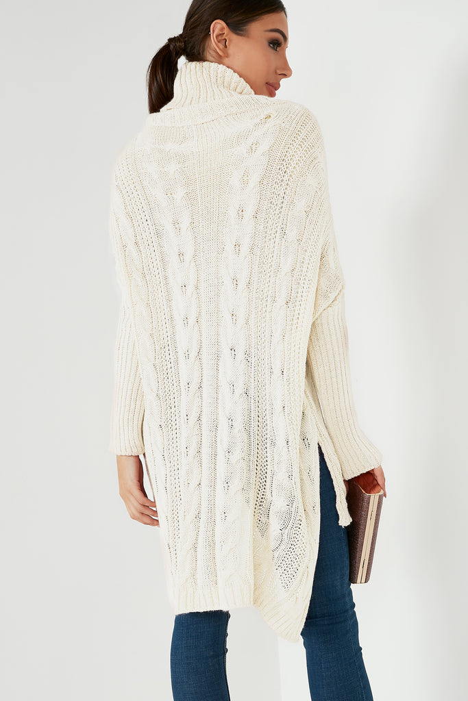 Caoimhe Cream Knit Cable High Low Jumper