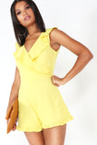 Dollie Yellow Frill Wrap Over Playsuit
