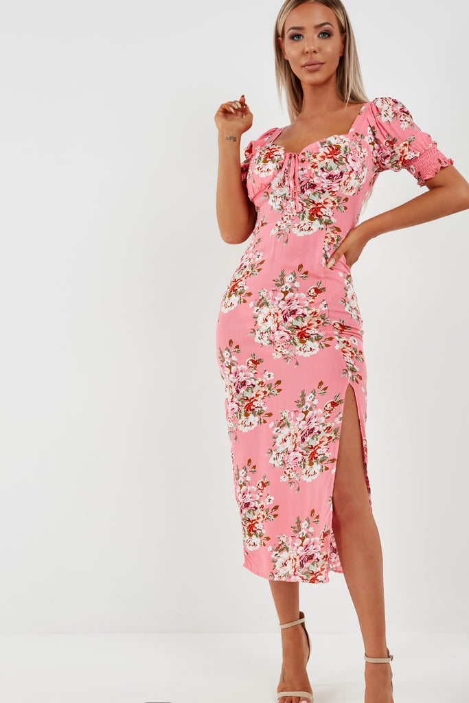 Essie Pink Floral Midi Dress