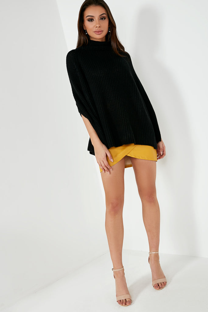 Gabby Black Knit Cape Jumper