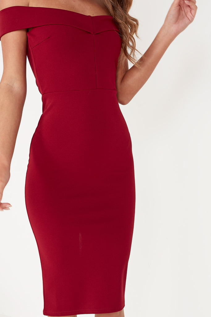 Lauralee Wine Bardot Midi Dress