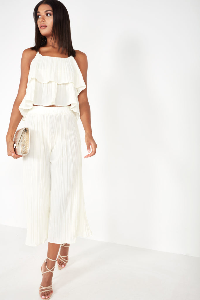 Liza Cream Crinkle Trouser Co Ord