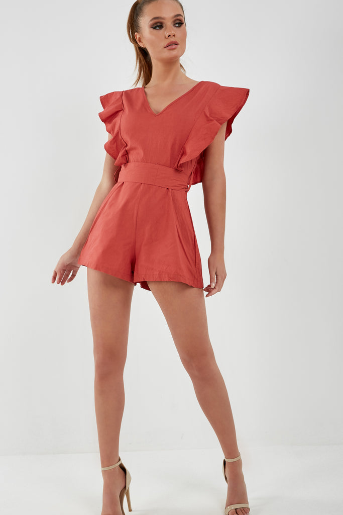 Lori Rust Frill Belted Playsuit
