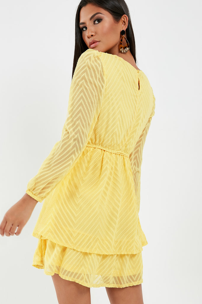 Marcie Lemon Chevron Tiered Dress