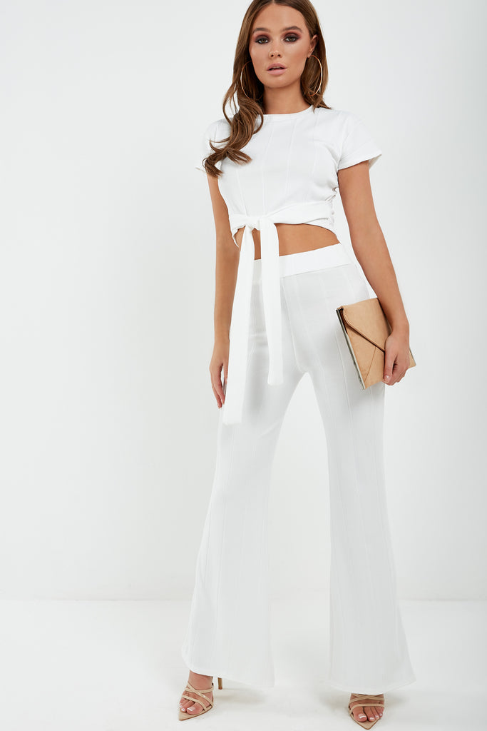 Mary Cream Ribbed Trouser Co Ord