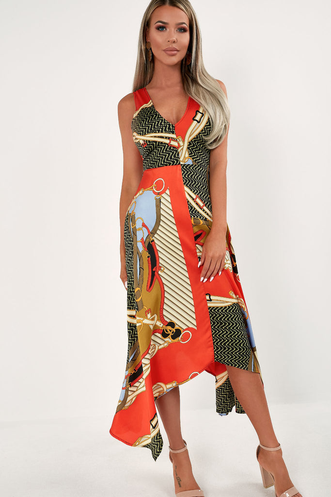 Noreen Red Chain Print Maxi Dress