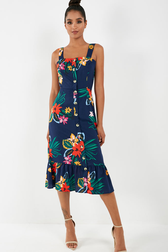 Patsie Navy Floral Pep Hem Midi Dress