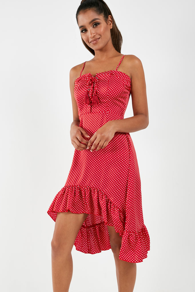 Pellie Red Polka Dot Tie Front Dress