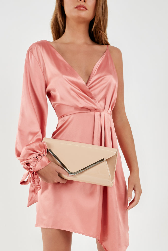 Penny Nude Patent Envelope Clutch Bag