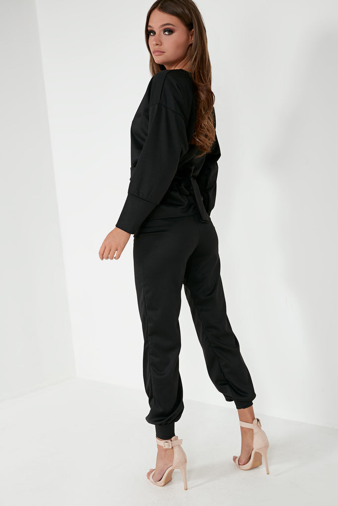 Quill Black Tie Waist Trouser Co Ord
