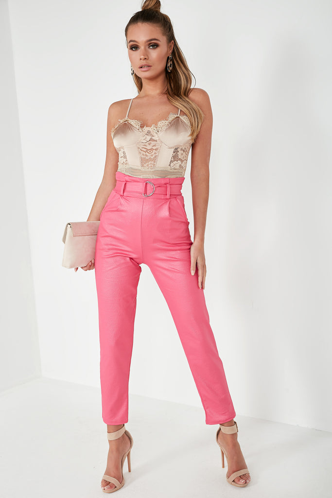 Selema Pink Wet Look Belted Trousers
