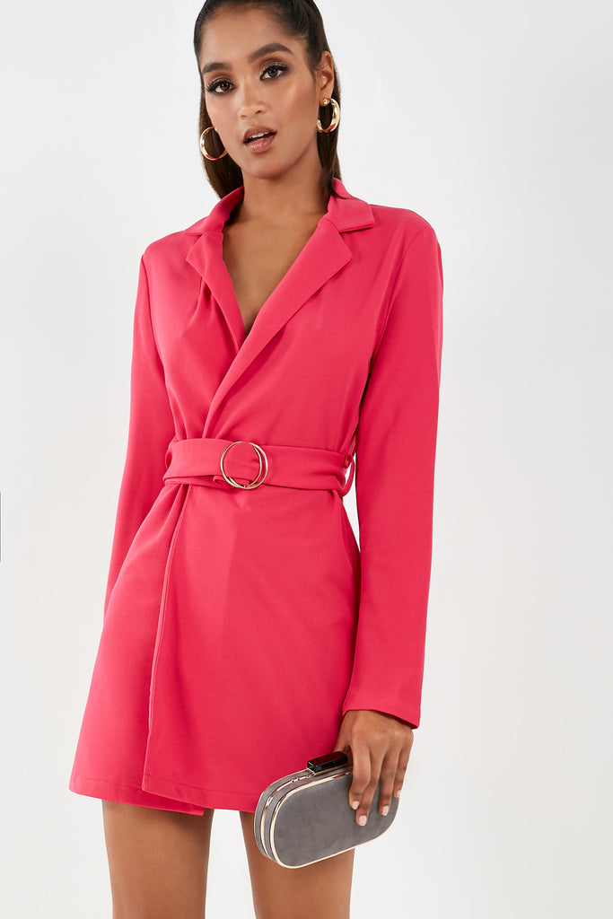 Stasie Pink Belted Blazer Dress