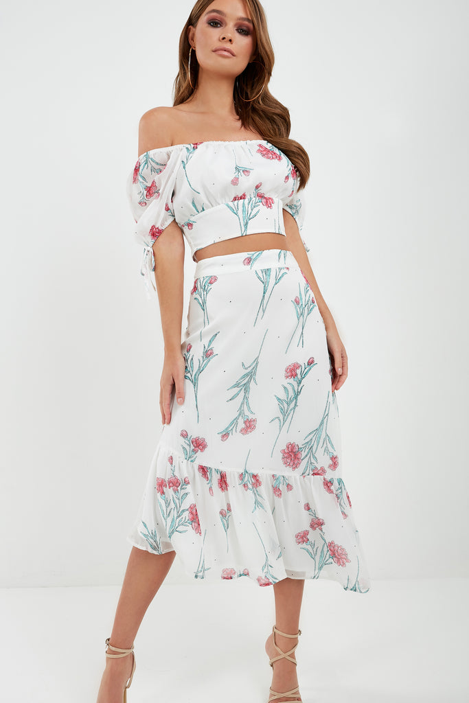 Ulta White Floral Skirt Co-Ord