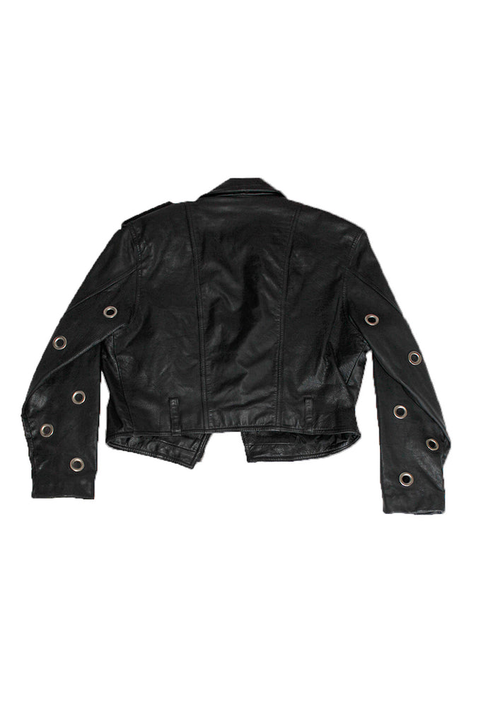 Vintage Cropped Leather Grommet Moto Jacket